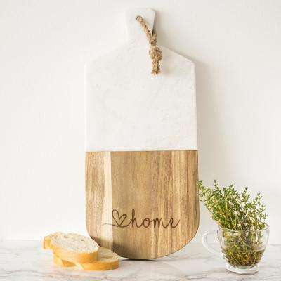 Love Home Marble and Acacia Serving Board