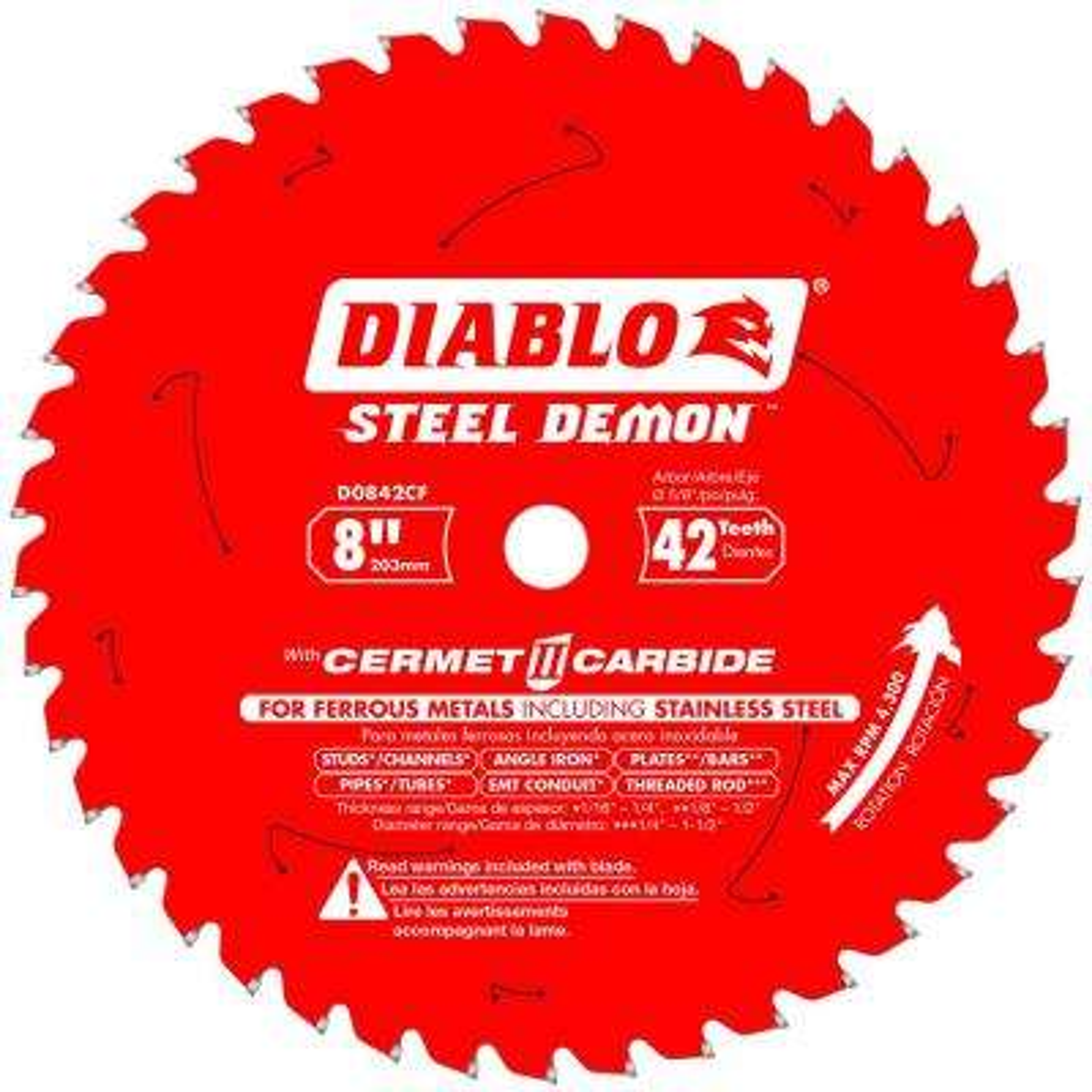 8 in  x 42-Tooth Steel Demon Cermet II Carbide Blade for Ferrous Metals &  Stainless Steel