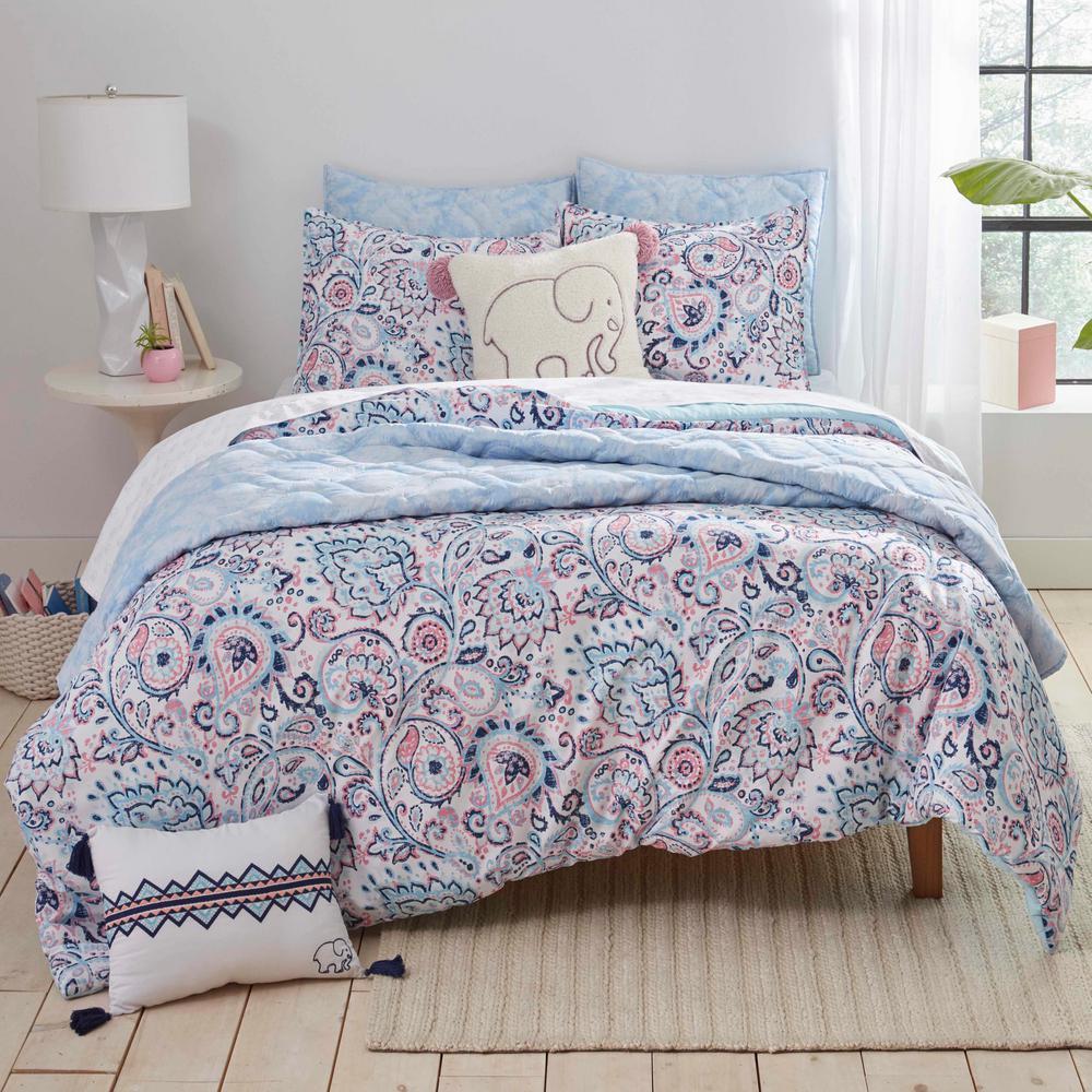 Nicole Blue 3-Piece Microfiber Full/Queen Comforter/Sham Set