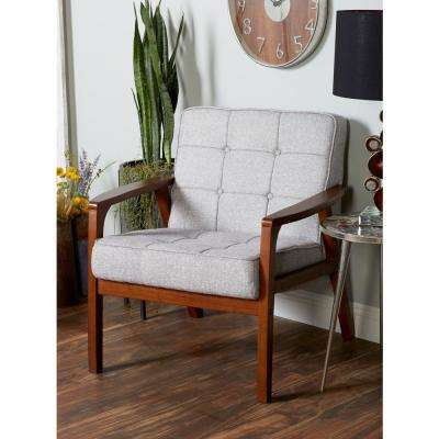 Gray Fabric and Rubber Wood Cushioned Arm Chair