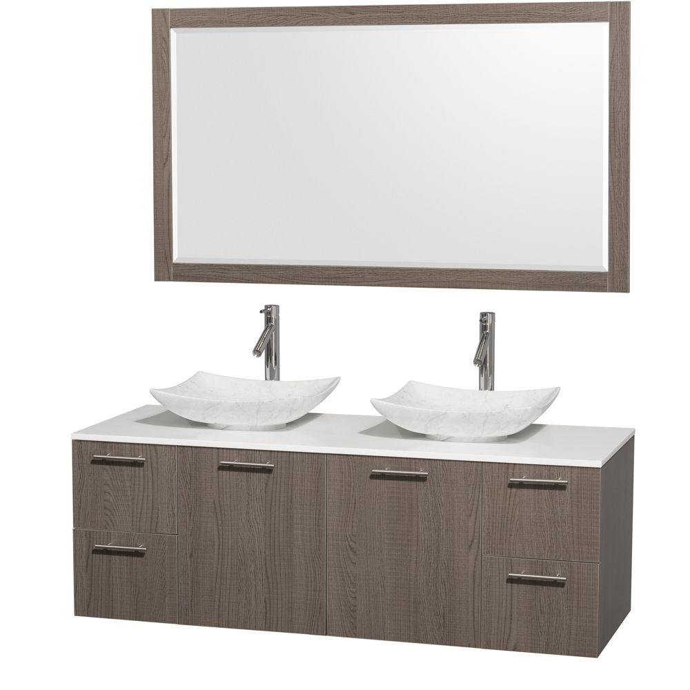 Amare 60 in. Double Vanity in Gray Oak with Solid-Surface Vanity