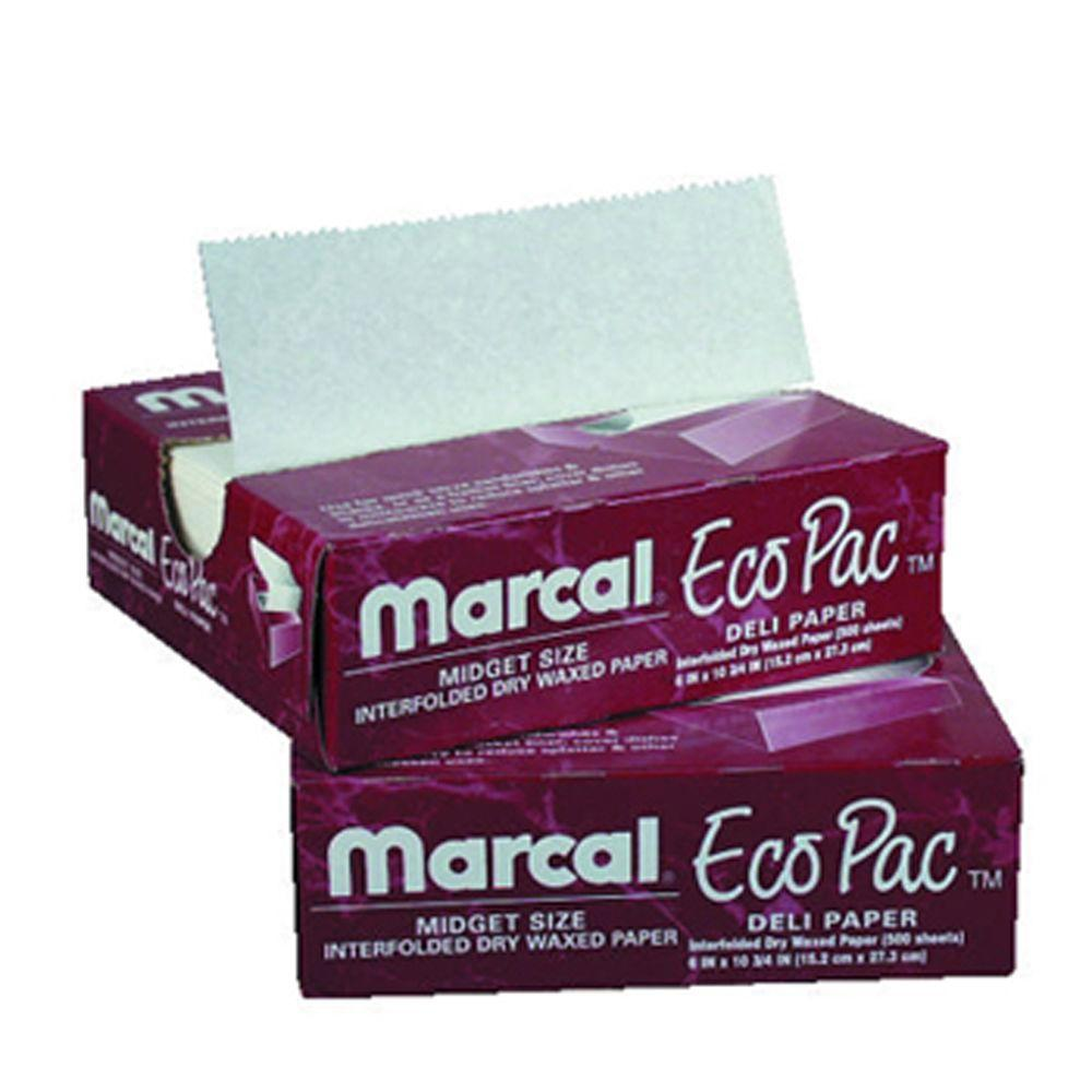 Marcal Eco-Pac Natural Interfolded Dry Waxed Paper Sheets, 8 in. x 10-3/4 in., White, 12 Packs of 500 Sheets