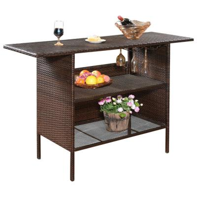 Rattan Wicker Outdoor Serving Bar Counter Table Shelves Garden Patio Furniture in Brown