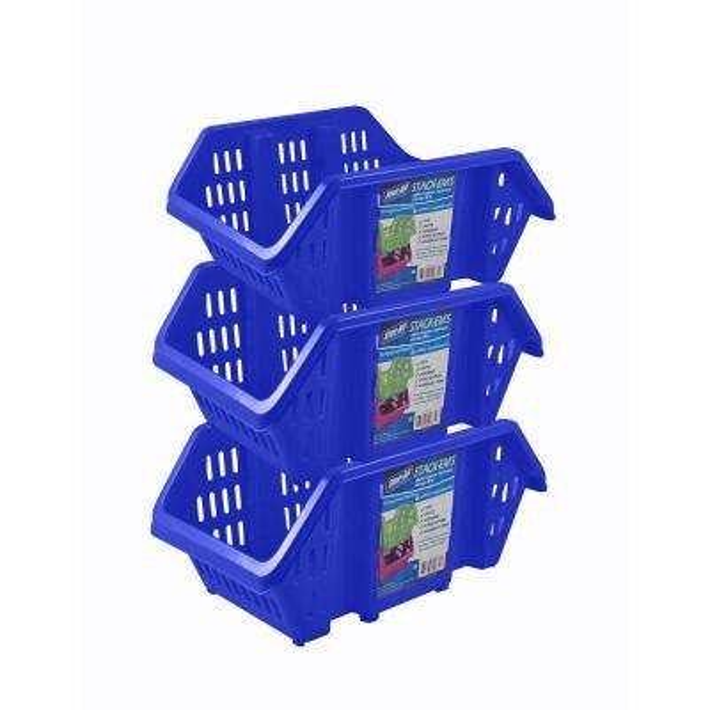 Stackable Storage Bin in Blue (3-Pack)