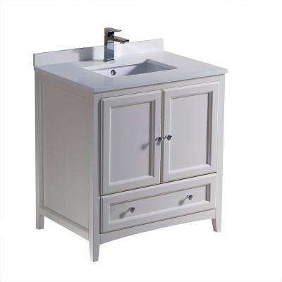 Oxford 30 in. Bath Vanity in Antique White with Quartz Stone Vanity Top in White with White Basin