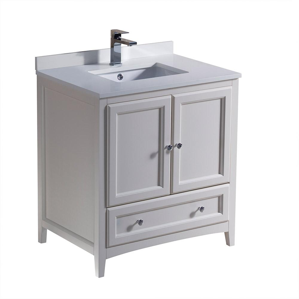 Fresca Oxford 30 In Bath Vanity In Antique White With Quartz Stone Vanity Top In White With