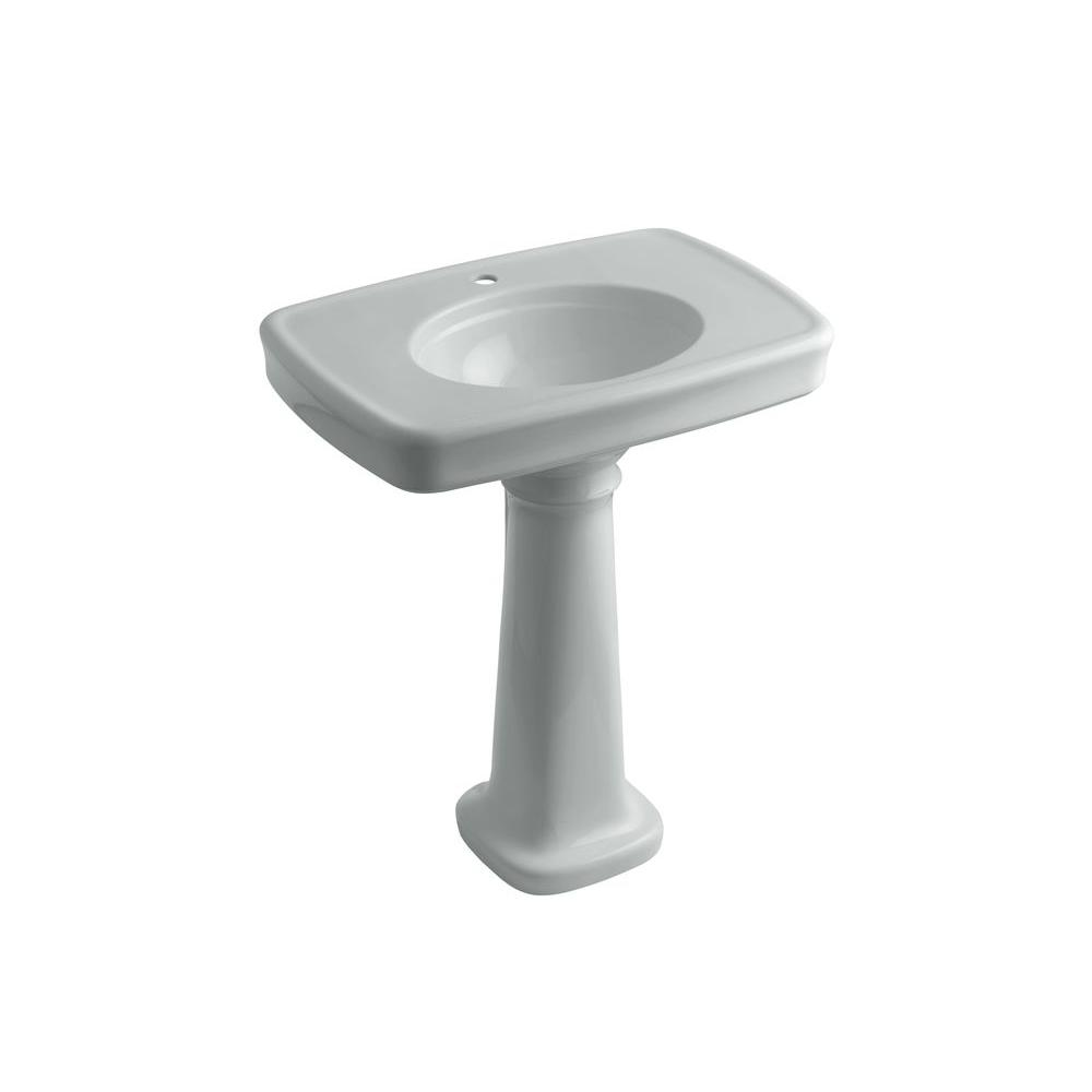KOHLER Bancroft Vitreous China Pedestal Combo Bathroom Sink in Ice Grey with Overflow Drain