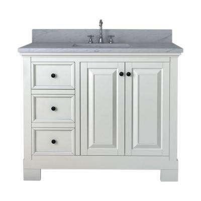 Richmond 42 in. W x 22 in. D Bath Vanity in White with Marble Vanity Top in White with White Basin