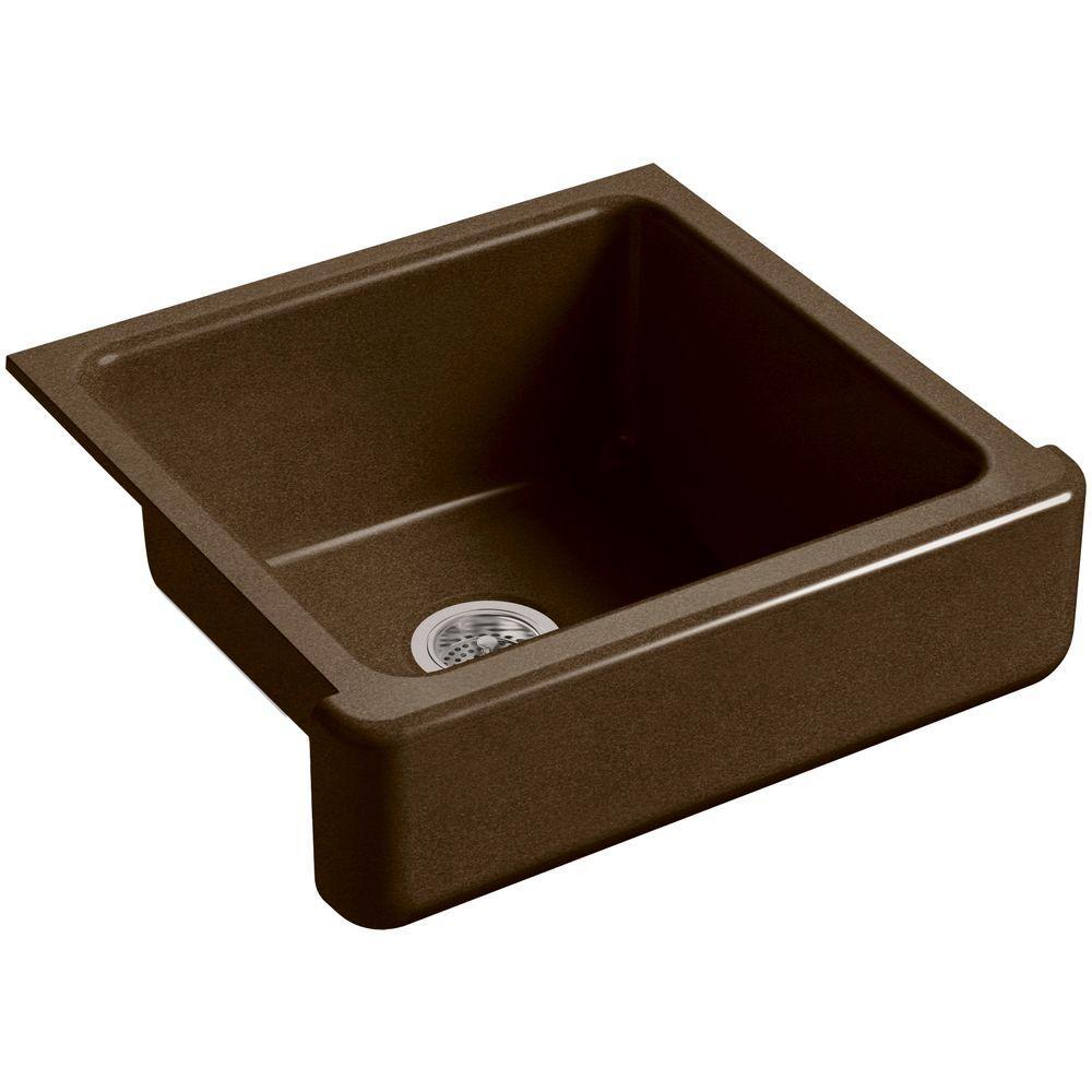 Whitehaven Farmhouse Short Apron-Front Cast Iron 24 in. Single Bowl Kitchen Sink in Black 'n Tan