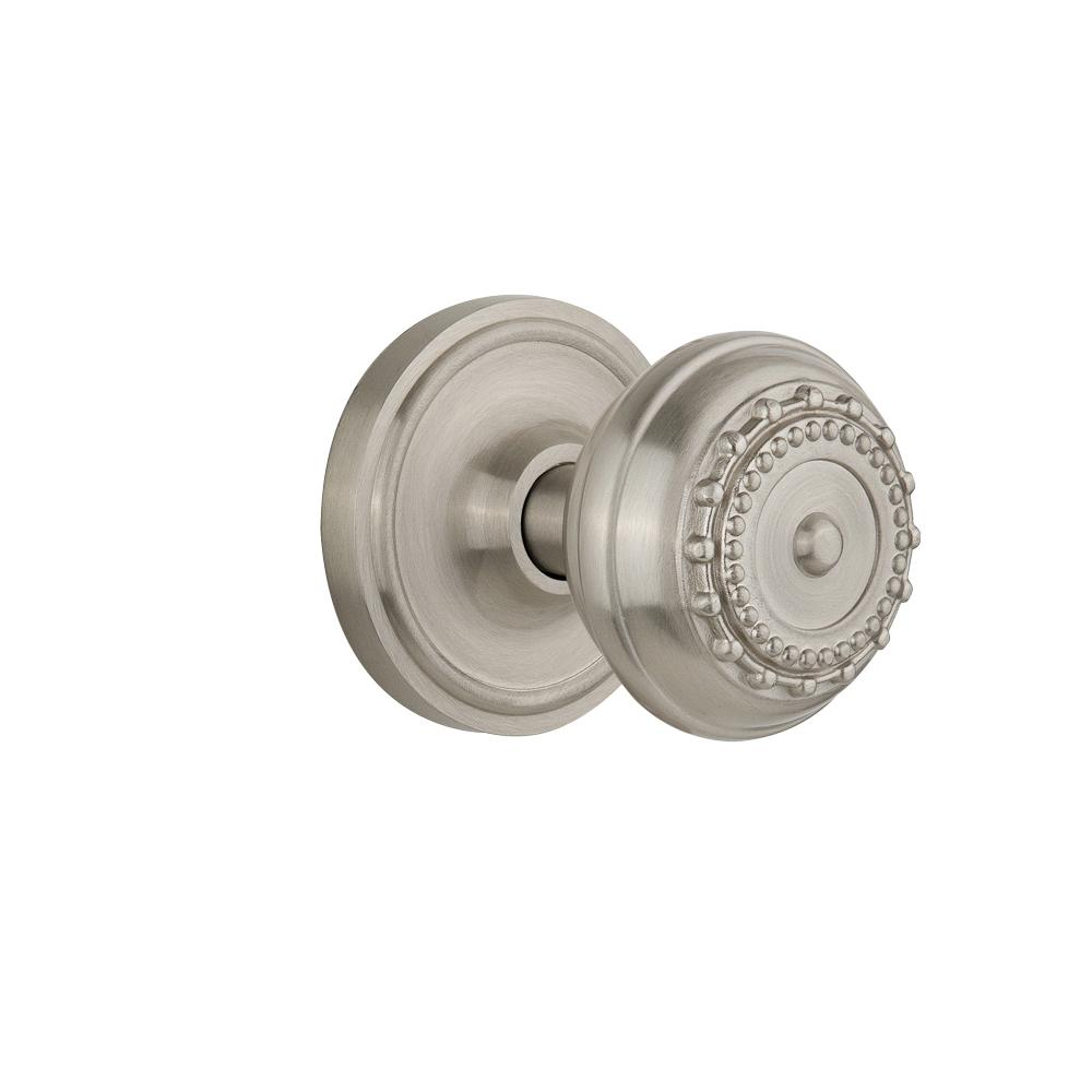 Classic Rosette Double Dummy Meadows Door Knob in Satin Nickel  sc 1 st  The Home Depot : door rosette - pezcame.com