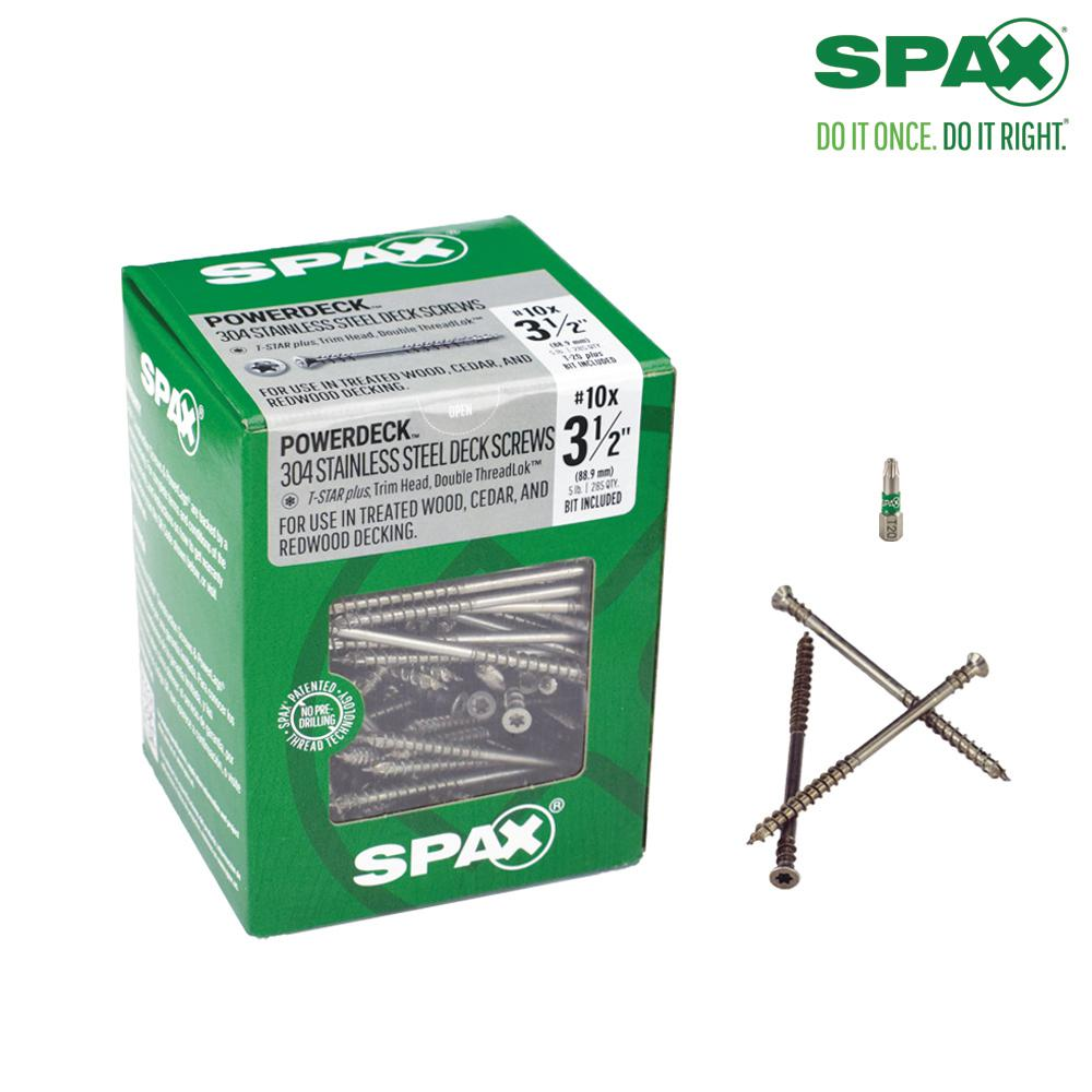 SPAX #10 x 3-1/2 in. T-Star Plus Drive Trim Head DoubleLok Thread Stainless Steel Screw (300-Box)