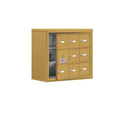 19100 Series 24 in. W x 20 in. H x 9.25 in. D 8 Doors Cell Phone Locker Surface Mount Keyed Lock in Gold