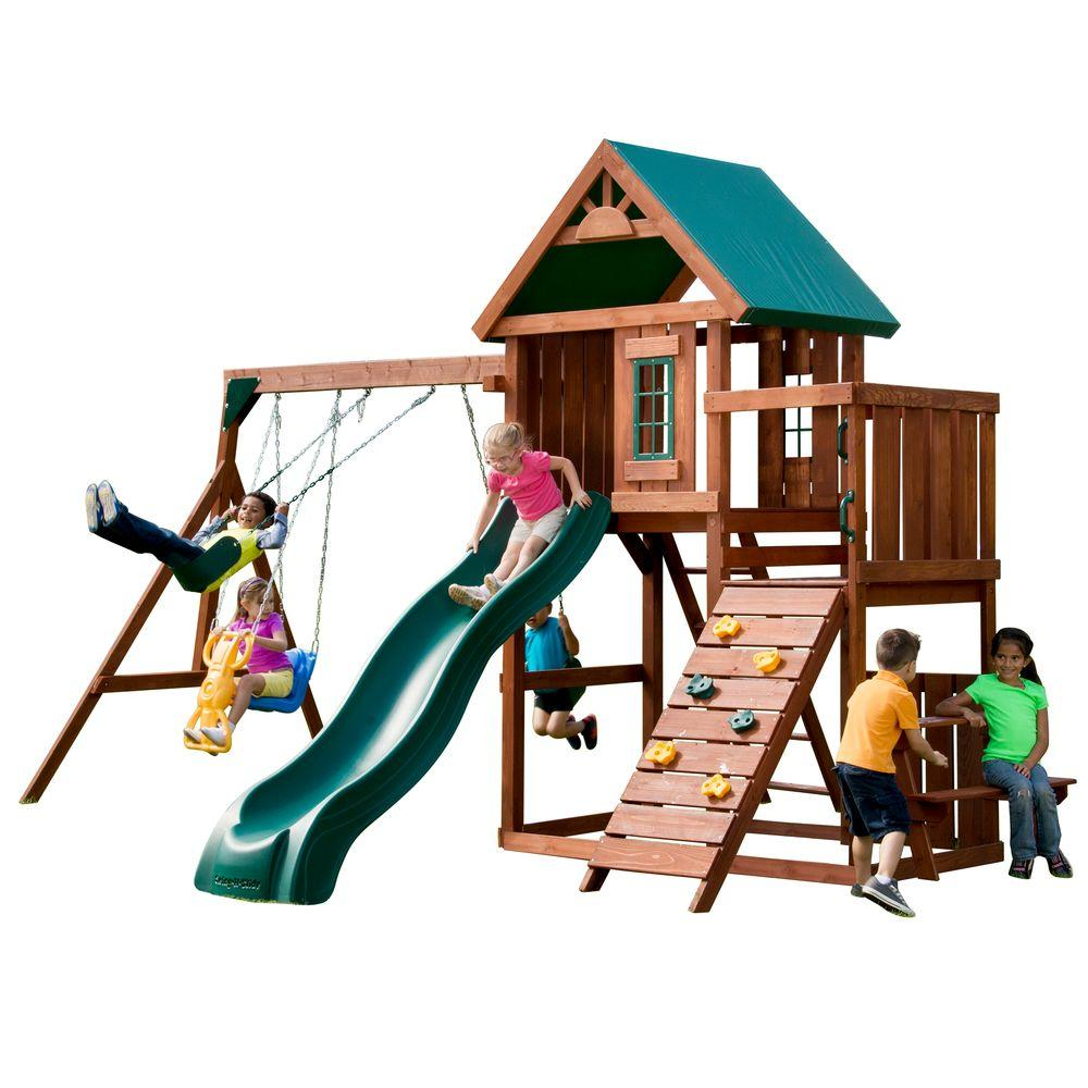 Swing-N-Slide Playsets Swings, Slides & Gyms Knightsbridge Wood Complete Playset Browns / Tans PB 9241-1