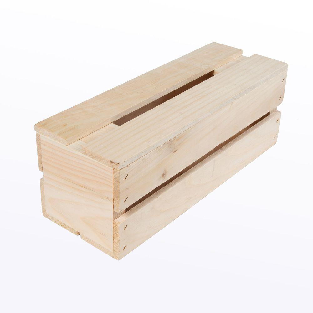 Crates & Pallet 13.5 in. x 4.5 in. x 4.75 in. Wine Wood Crate (4 ...