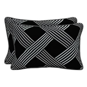Black Lattice Lumbar Outdoor Throw Pillow (2-Pack)