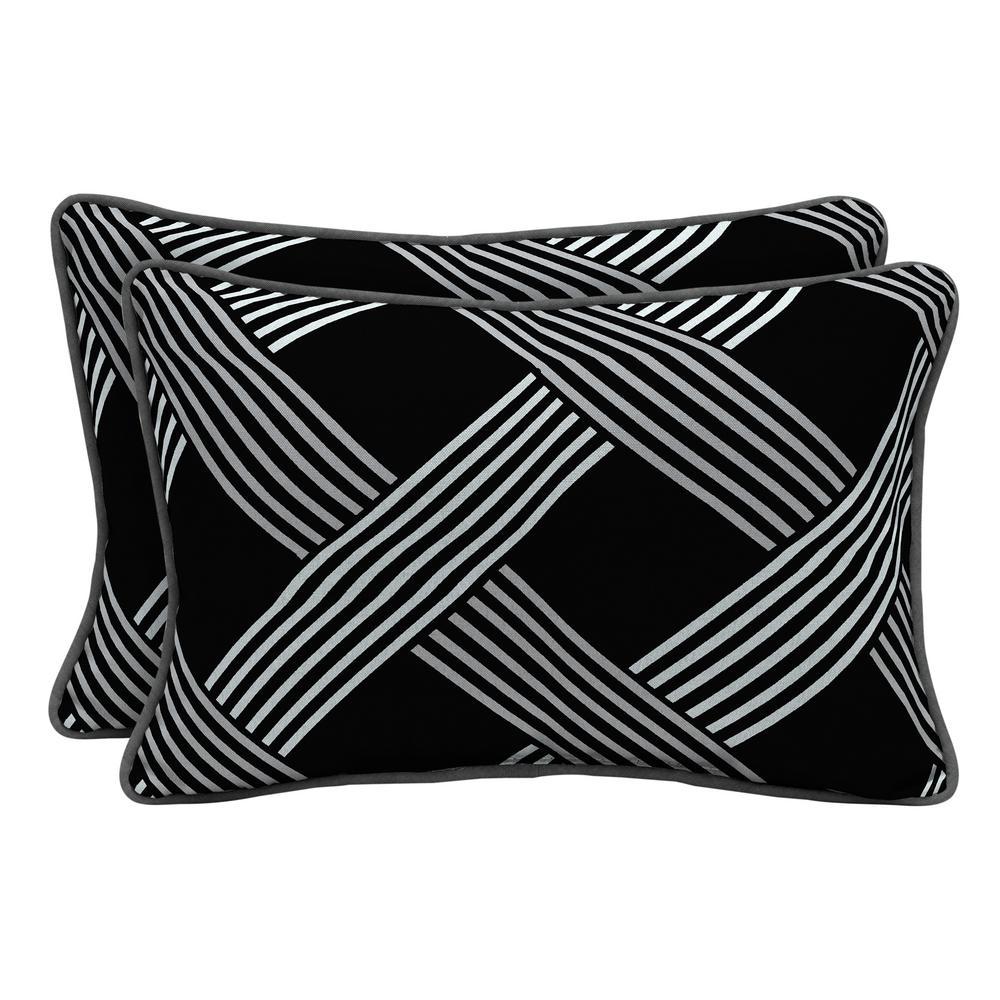 Black Lattice Lumbar Outdoor Throw Pillow (2-Pack)