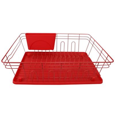 3-Piece Contempo Red Dish Rack