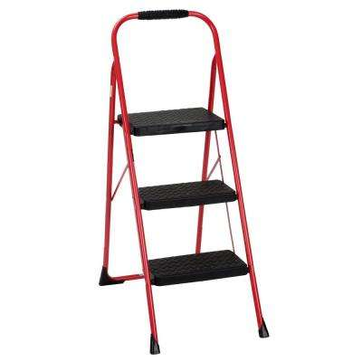 3-Step Steel Big Step Folding Step Stool Type 3 with Rubber Hand Grip in Red