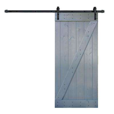 36 in. x 84 in. Z Series DIY Dark Grey Finished Knotty Pine Wood Barn Door with 6.6 ft. Sliding Door Track Hardware Kit