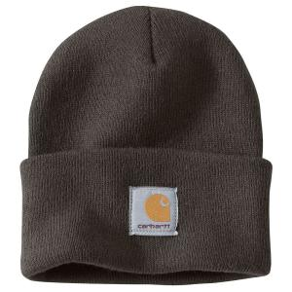 a6fbd12181c Carhartt Men s OFA Dark Brown Sandstone Acrylic Hat Headwear-A18-247 ...