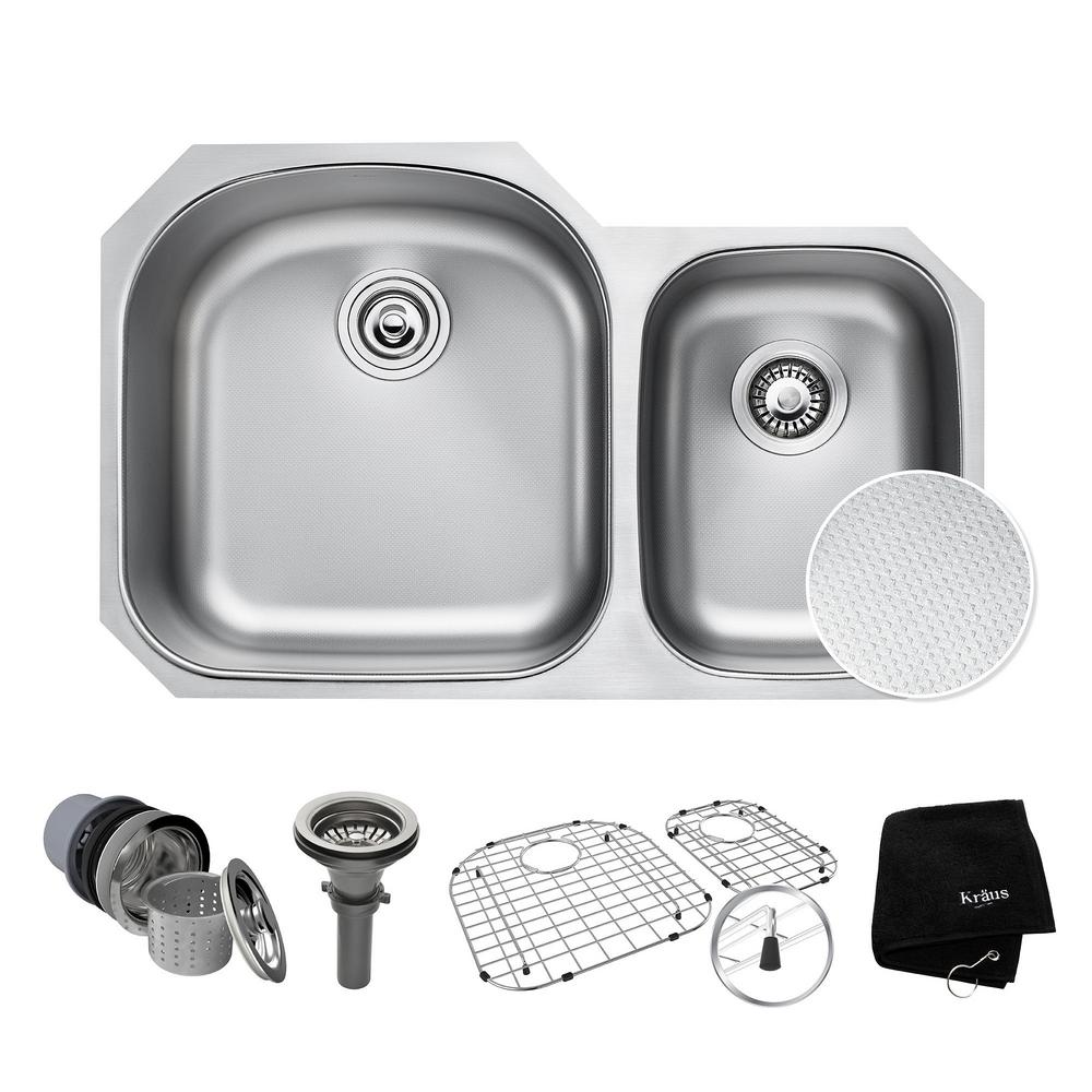 KRAUS Outlast Microshield Undermount Stainless Steel 32 In. 60/40 Double  Bowl Kitchen Sink