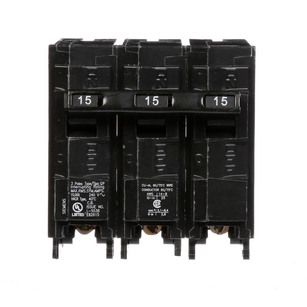 Siemens 15 Amp 3-Pole Type QP Plug-In Circuit Breaker
