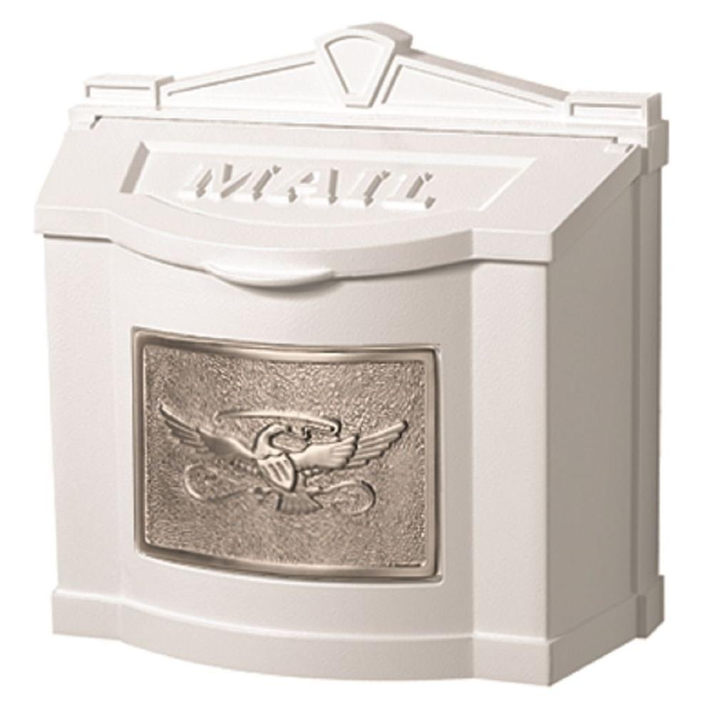 Eagle Accent Wall Mount Mailbox White with Satin Nickel