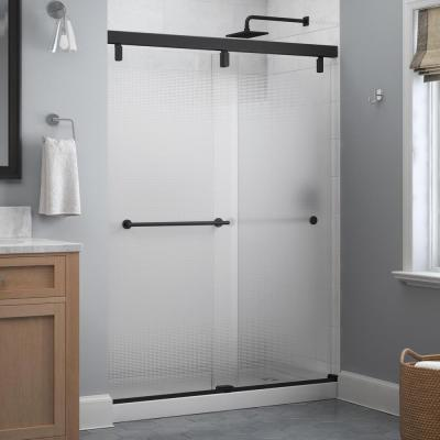 Lyndall 60 x 71-1/2 in. Frameless Mod Soft-Close Sliding Shower Door in Matte Black with 1/4 in. (6 mm) Droplet Glass