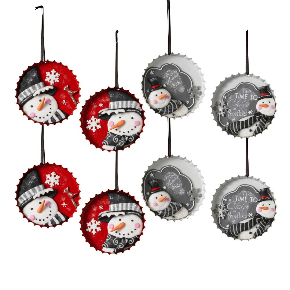 bottle cap snowman ornaments with 4 assorted styles pack of 8