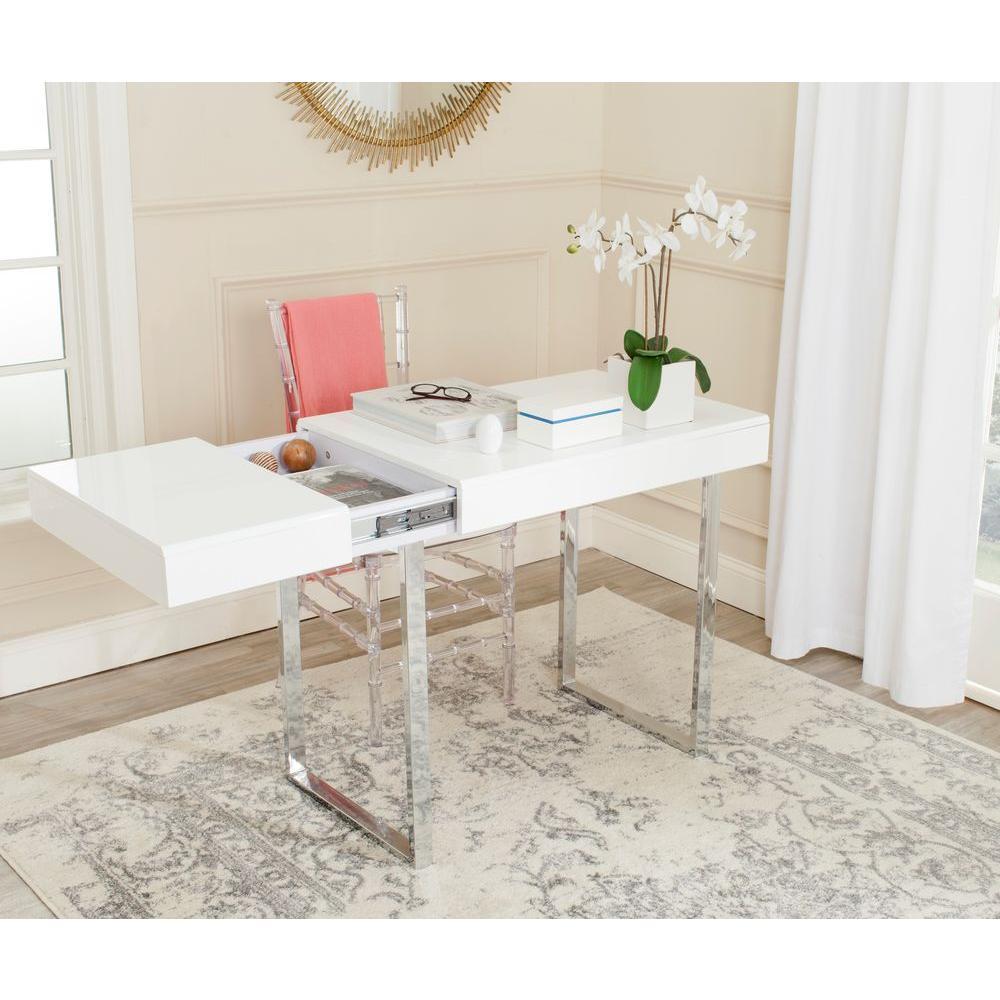 Berkly White and Chrome Desk with Storage