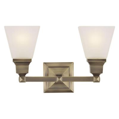 2-Light Antique Brass Bath Light with Satin Glass Shade