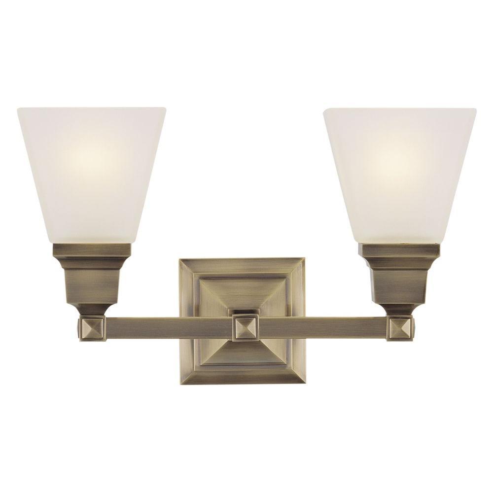 2-Light Antique Brass Bath Light with Satin Glass Shade