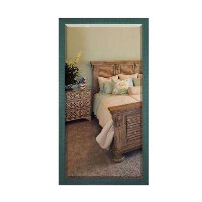 65.5 in. x 32 in. Country Cottage Aqua Framed Beveled Tall Mirror