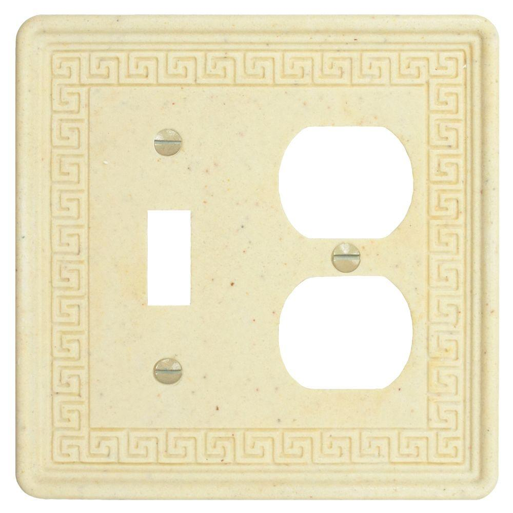 Merola Tile Contempo Greek Key Double-Gang Toggle and Duplex Receptacle Combination Wall Plate - Light Travertine