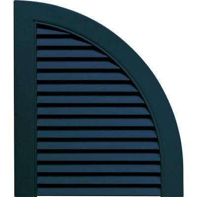 15 in. x 17 in. Louvered Design Midnight Blue Quarter Round Tops Pair #166