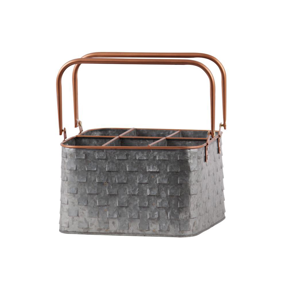 Galvanized Finish Multi-Colored Metal Decorative Caddy