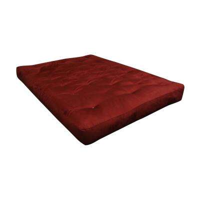 King 8 in. Foam and Cotton Burgundy Futon Mattress