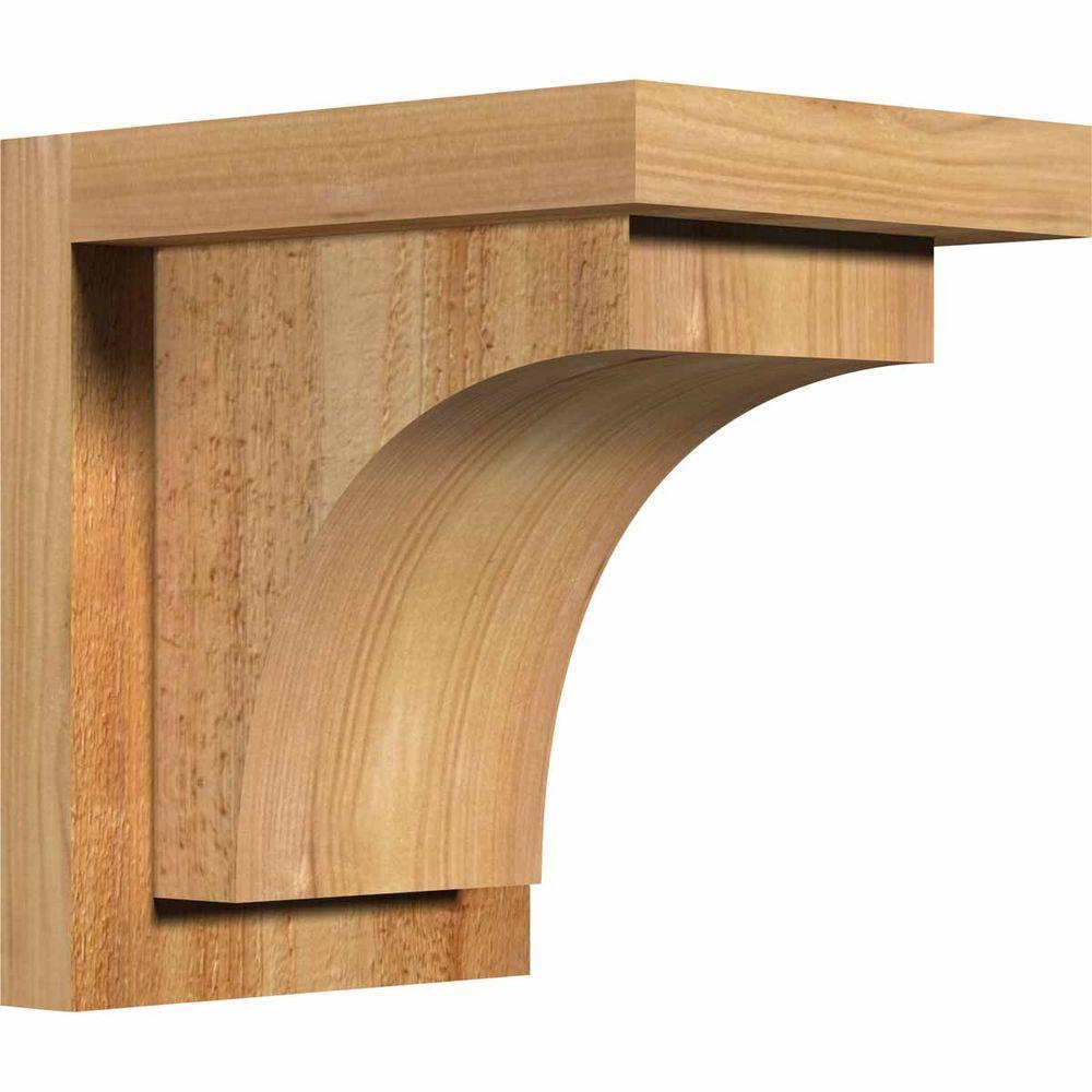 Ekena Millwork 6 in. x 8 in. x 8 in. Huntington Rough Sawn Western Red Cedar Corbel with Backplate