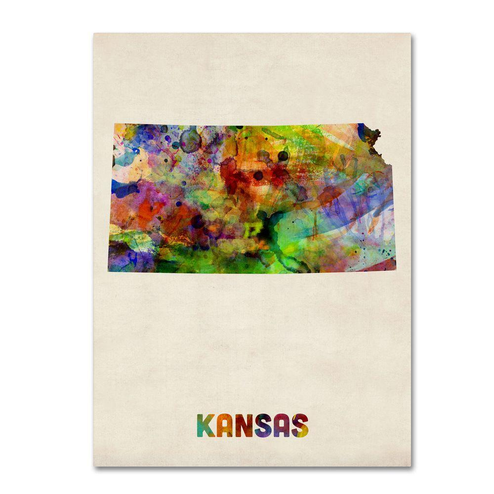 14 in. x 19 in. Kansas Map Canvas Art