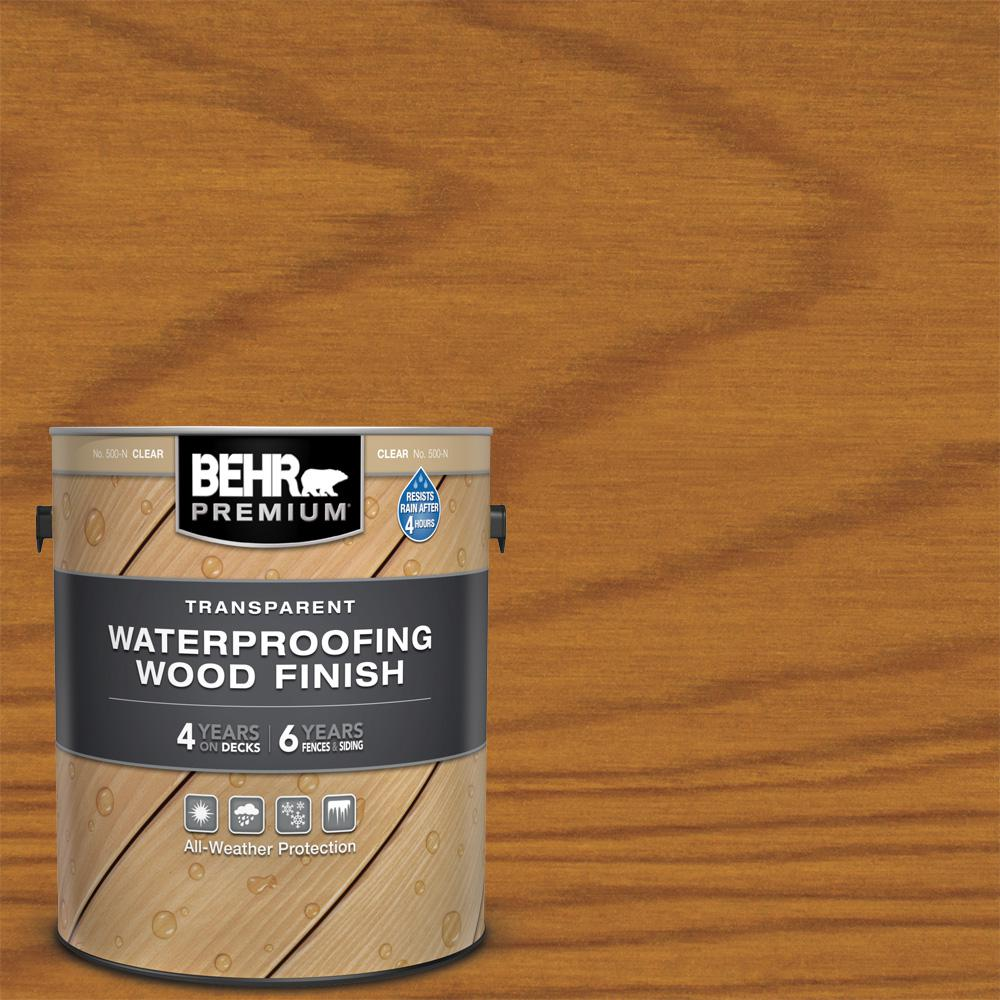BEHR Premium 1 gal. #T-500 Natural Clear Transparent Waterproofing Exterior Wood Finish