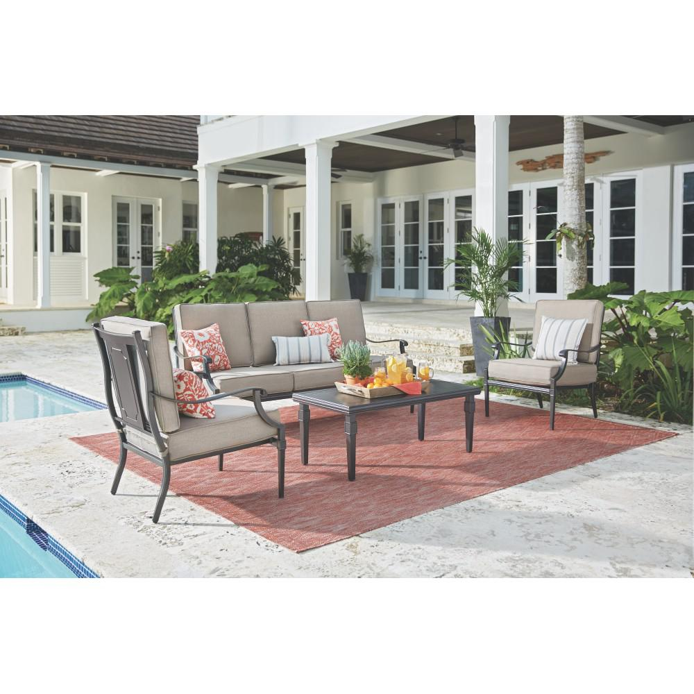 Dunham Manor 4-Piece All-Weathered Metal Deep Seating Set with Sand Dune