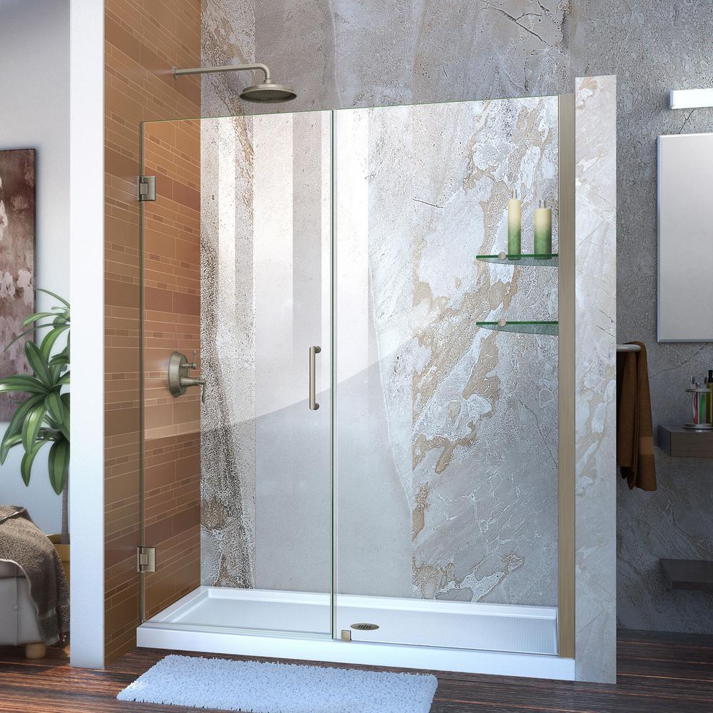 Unidoor 57 in. to 58 in. x 72 in. Frameless Hinged Pivot Shower Door in Brushed Nickel with Handle