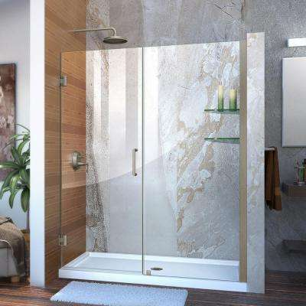 Unidoor 58 in. to 59 in. x 72 in. Frameless Hinged Pivot Shower Door in Brushed Nickel with Handle