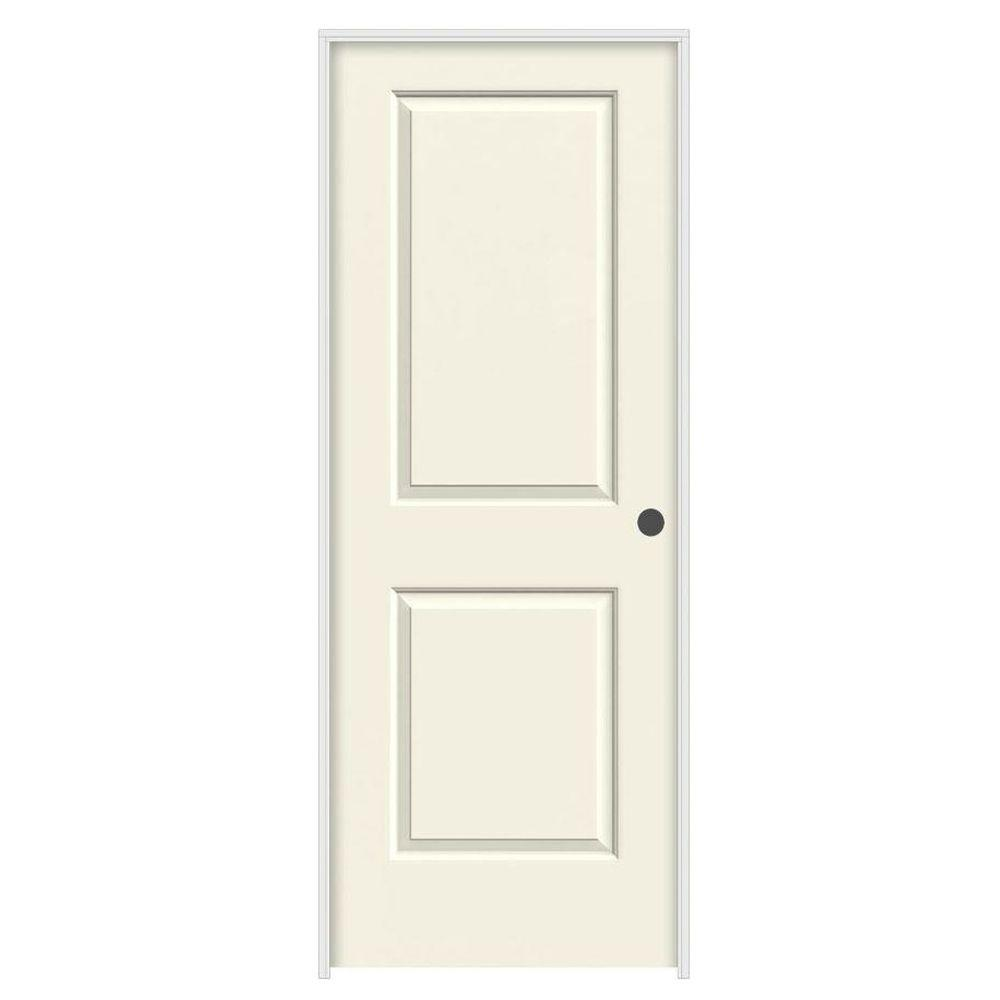 JELD-WEN 28 in. x 80 in. Cambridge Vanilla Painted Left-Hand Smooth Solid Core Molded Composite MDF Single Prehung Interior Door
