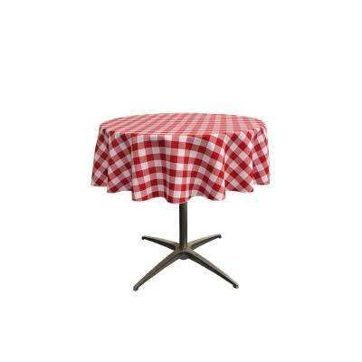 """""""58 in. White and Red Polyester Gingham Checkered Round Tablecloth"""""""
