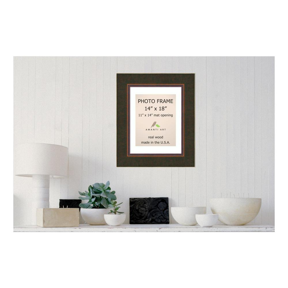 Amanti Art Milano 11 in. x 14 in. White Matted Bronze Picture Frame ...