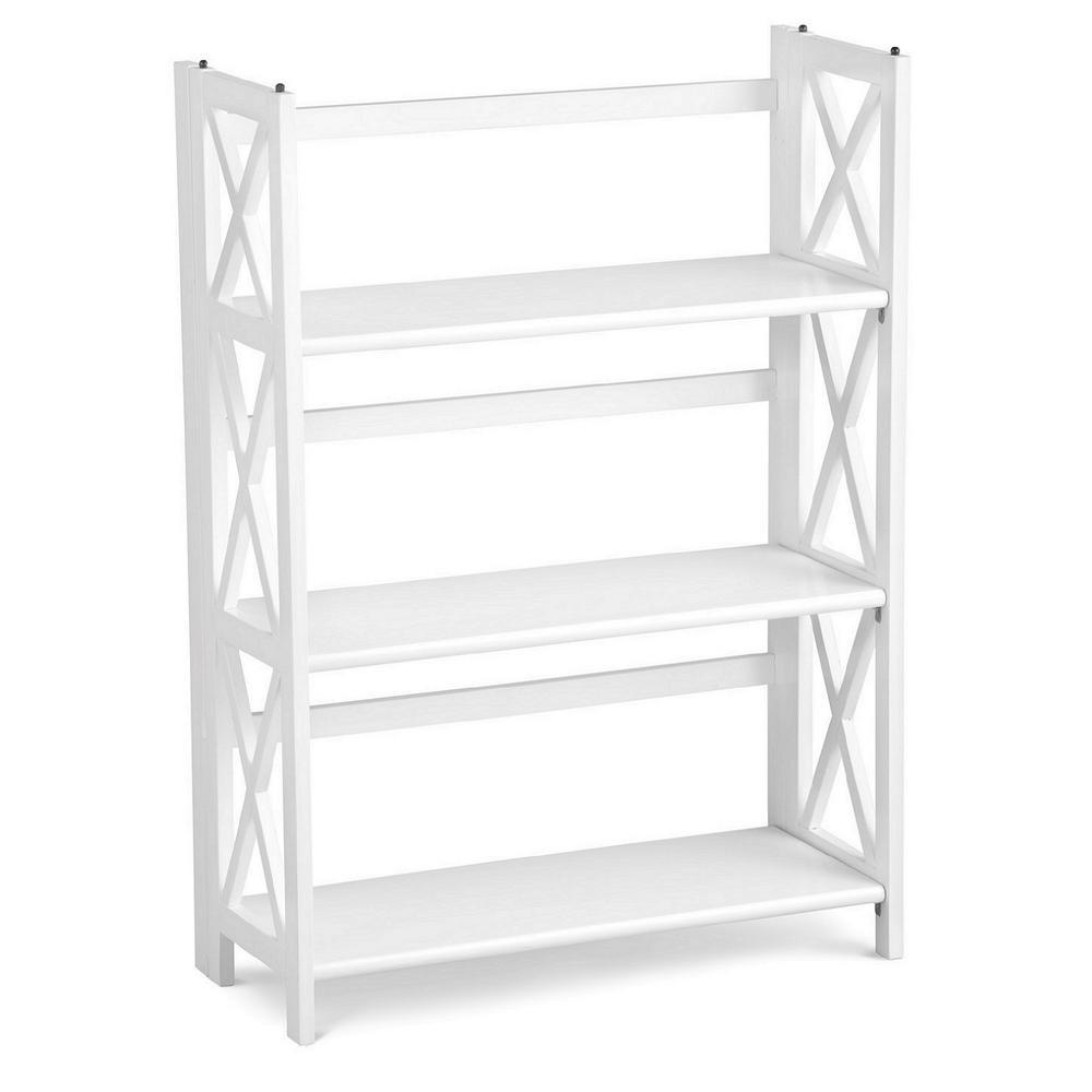 X-Design White 3-Shelf Folding Bookcase