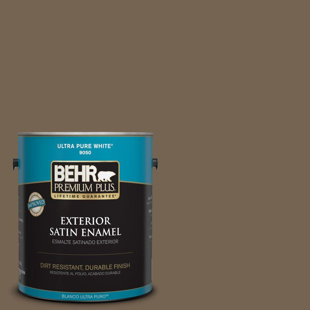 1-gal. #HDC-SM14-4 Tan Bark Trail Satin Enamel Exterior Paint