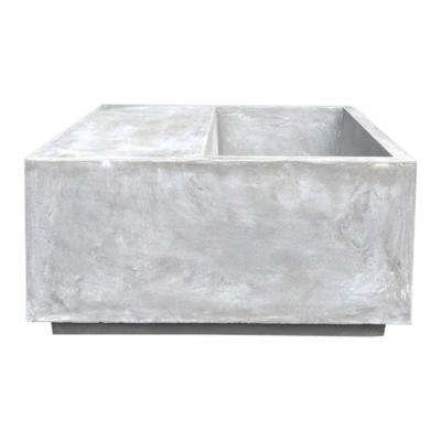 29.5 in. x 29.5 in. x 14.6 in. Light Gray Lightweight Concrete Light Grey Planter and Garden Bench