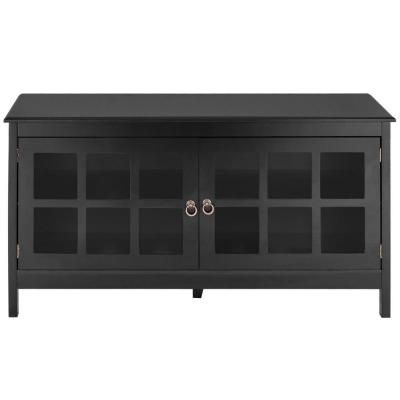 Modern Black 50 in. TV Stand Wood Storage Console with 2-Doors 5-Wood Legs